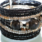 Black Shimmery Beaded Cuff Bracelet