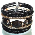 Black Shimmery Beaded Cuff Bracelet Front