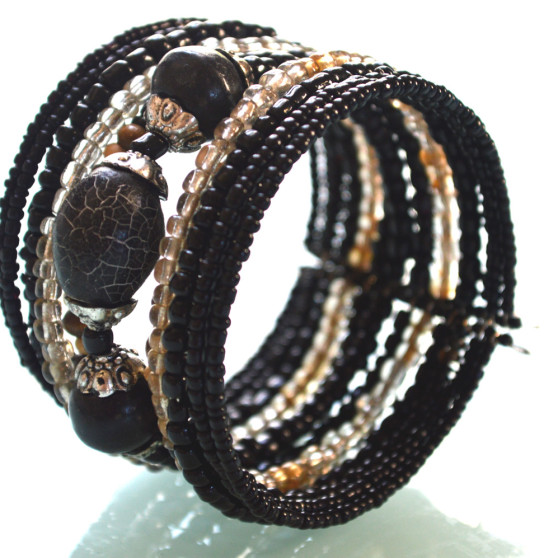 Black Shimmery Beaded Cuff Bracelet side