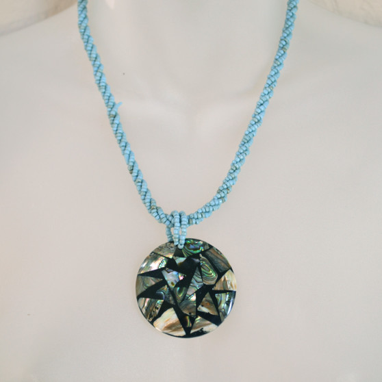 Blue Beaded Abalone Shell Necklace