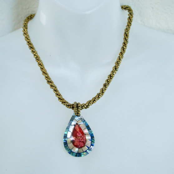 Gold Beaded Abalone shell and red coral