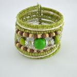 Green Shimmery Beaded Cuff Bracelet
