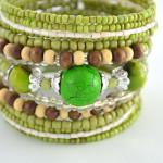Green Shimmery Beaded Cuff Bracelet 2