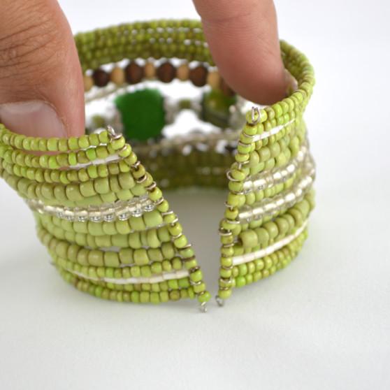 Green Shimmery Beaded Cuff Bracelet 3