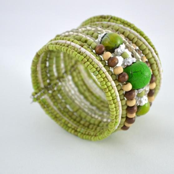 Green Shimmery Beaded Cuff Bracelet 4
