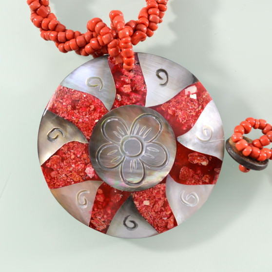 Mother of Pearl red coral sunflower necklace 2