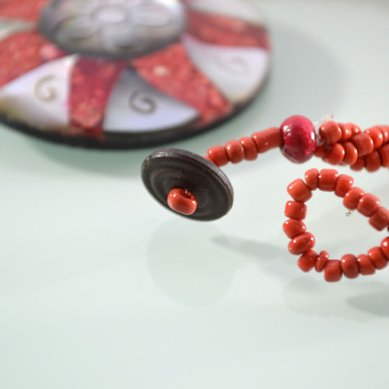Mother of Pearl red coral sunflower necklace 3