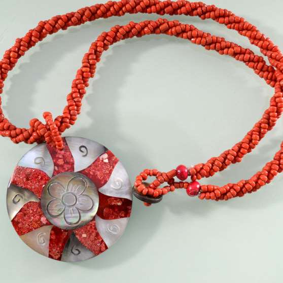 Mother of Pearl red coral sunflower necklace