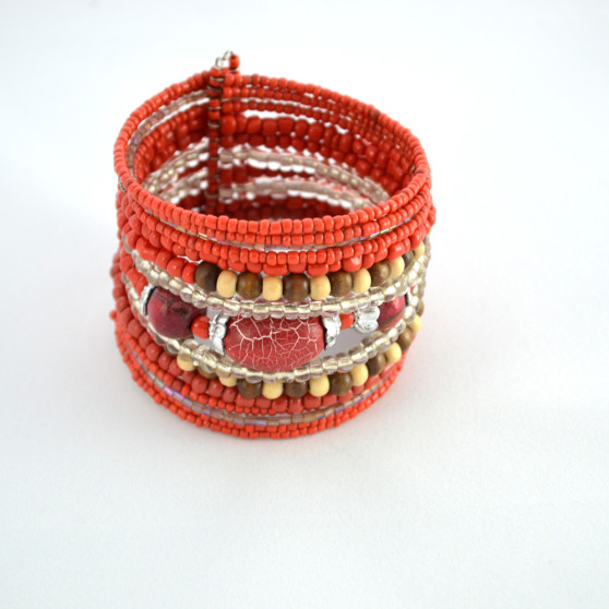 Red Beaded Cuff
