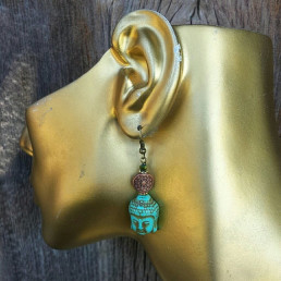 Turquoise color Buddha earrings