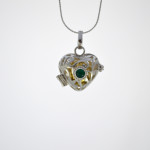 Silver Heart Harmony Bell With Green Crystal