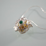 Silver Heart Harmony Bell With Green Crystal 2