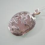Silver Rose Quartz Pendant angled