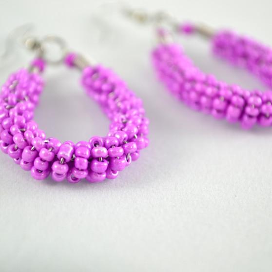 purple beaded loop earrings 2