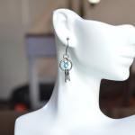 Blue Swarovski Crystal Keys Earrings