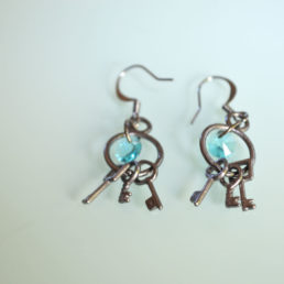 Blue Swarovski Crystal Keys Earrings 3