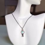 Blue swarovski Crystal Keys Necklace