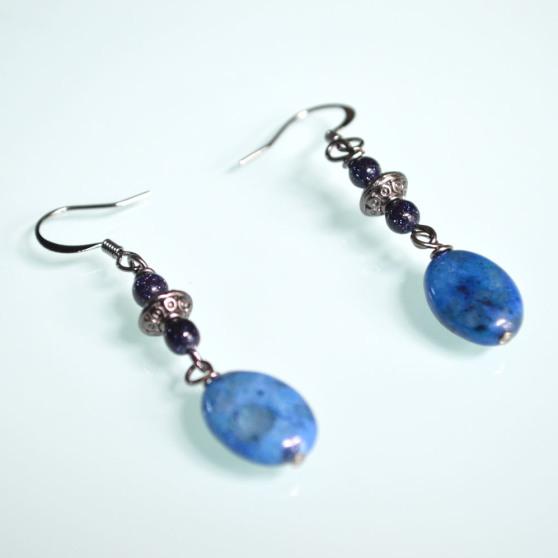 Blue Speckled Stone Earrings 2