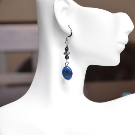 Blue Speckled Stone Earrings