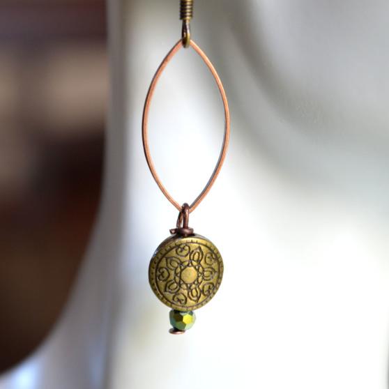 Oval Loop w Charm Earrings 2
