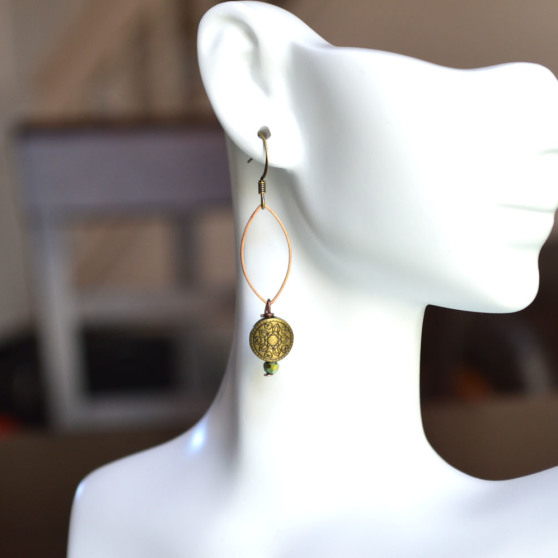 Oval Loop w Charm Earrings