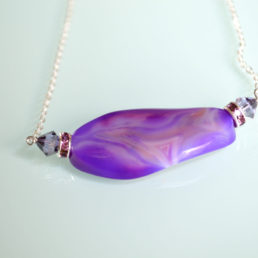 Purple Oval Stone Necklace 2