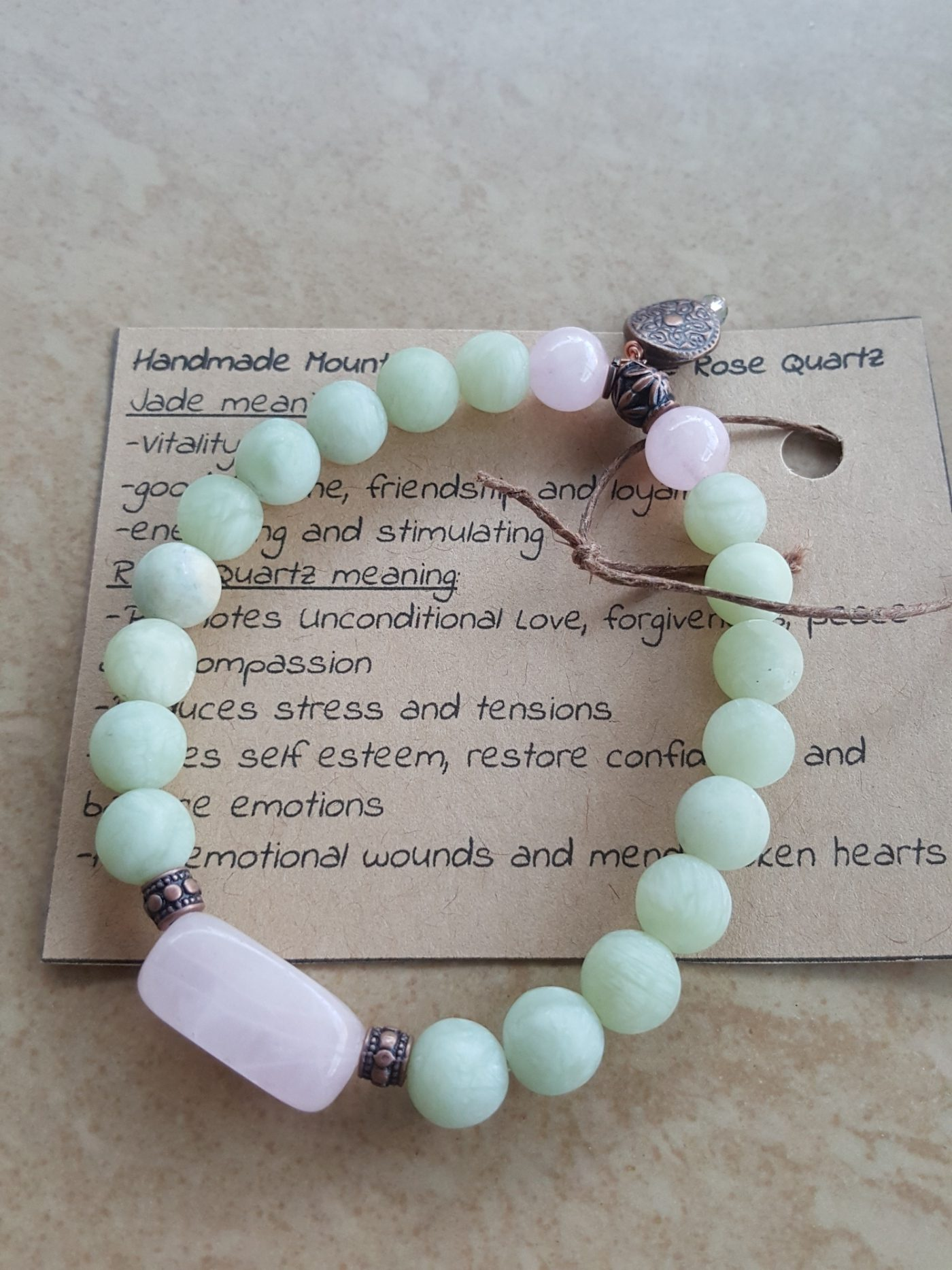 Rose Quartz bracelet Handmade jewelry